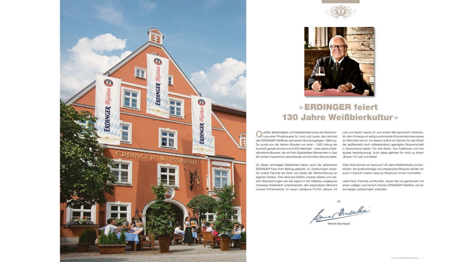 kiecom_ERDINGER Fanpost_Grußwort Werner Brombach 130 Jahre ERDINGER Weißbräu